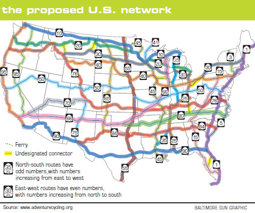 Atlast Us Bicycle Route System - Us map with route numbers