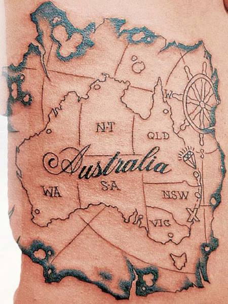 Apparently, Napoleon's Australia pirate map tattoo sort of shows the extent